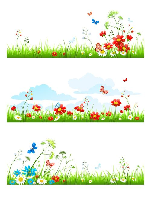 With nature elements vector. Butterflies clipart summer flower