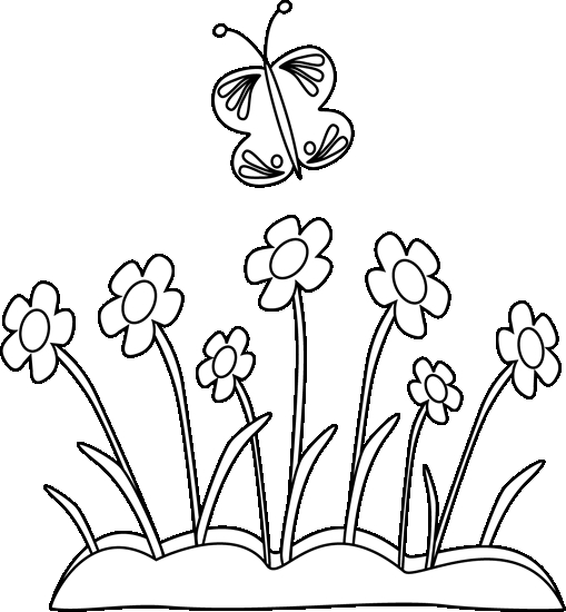 Butterflies clipart summer flower. Black and white bed