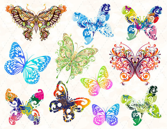 Digital butterfly clip art. Butterflies clipart swirl