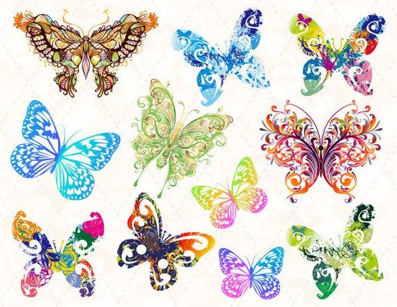 Butterflies clipart swirl. Digital butterfly clip art