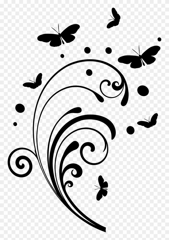 Butterfly design simple black. Butterflies clipart swirl
