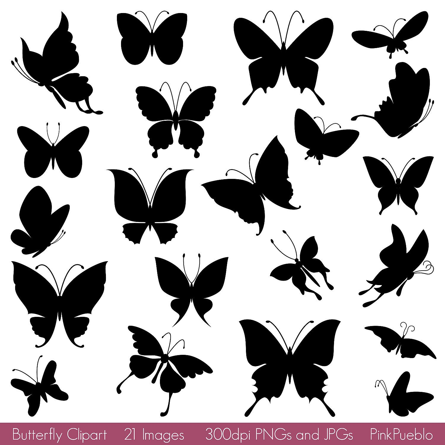 Butterfly clipart silhouette. Silhouettes clip art vector