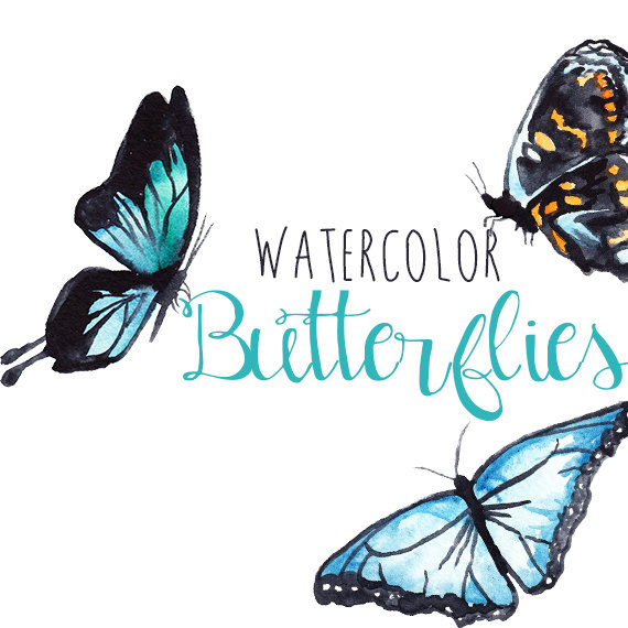 Butterfly clipart watercolor. Clip art image pack