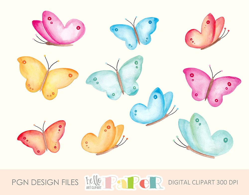 Butterfly clipart watercolor. Illustrations creative market