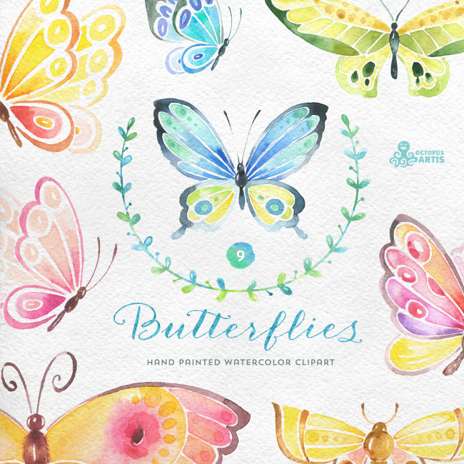 Cards clipart butterfly. Butterflies watercolor separate hand