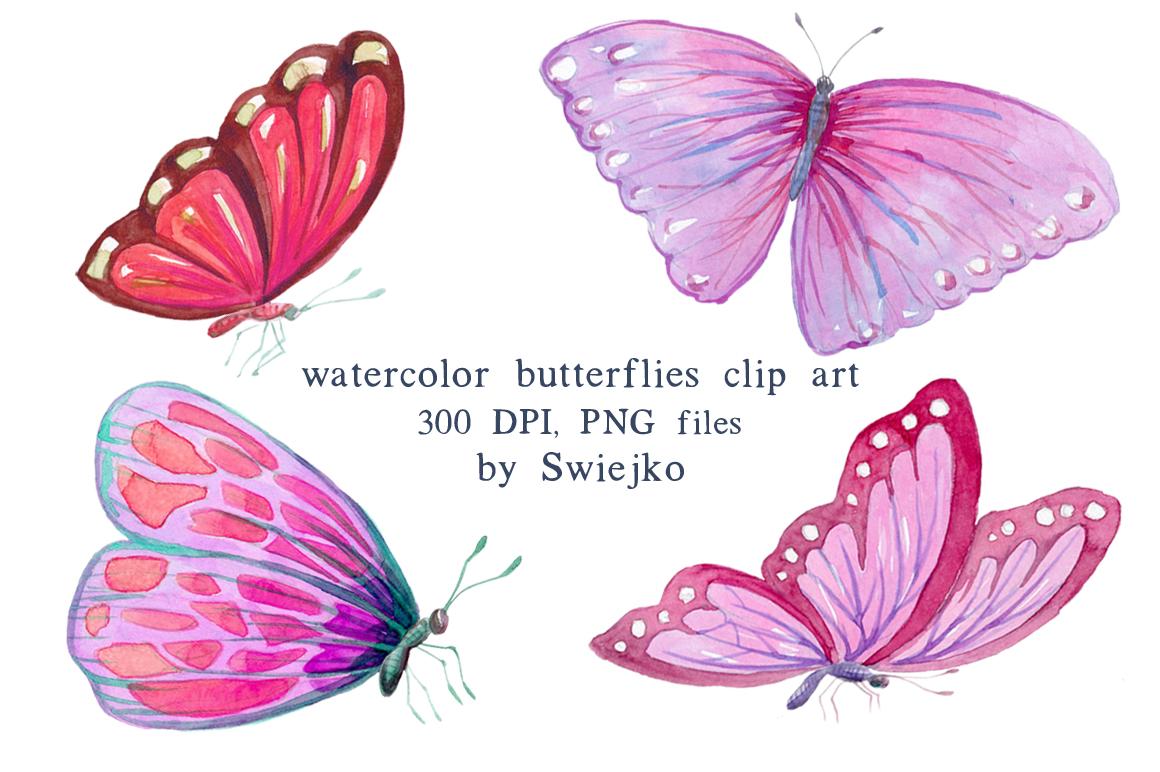 Butterfly clipart watercolor. Digital butterflies pink by