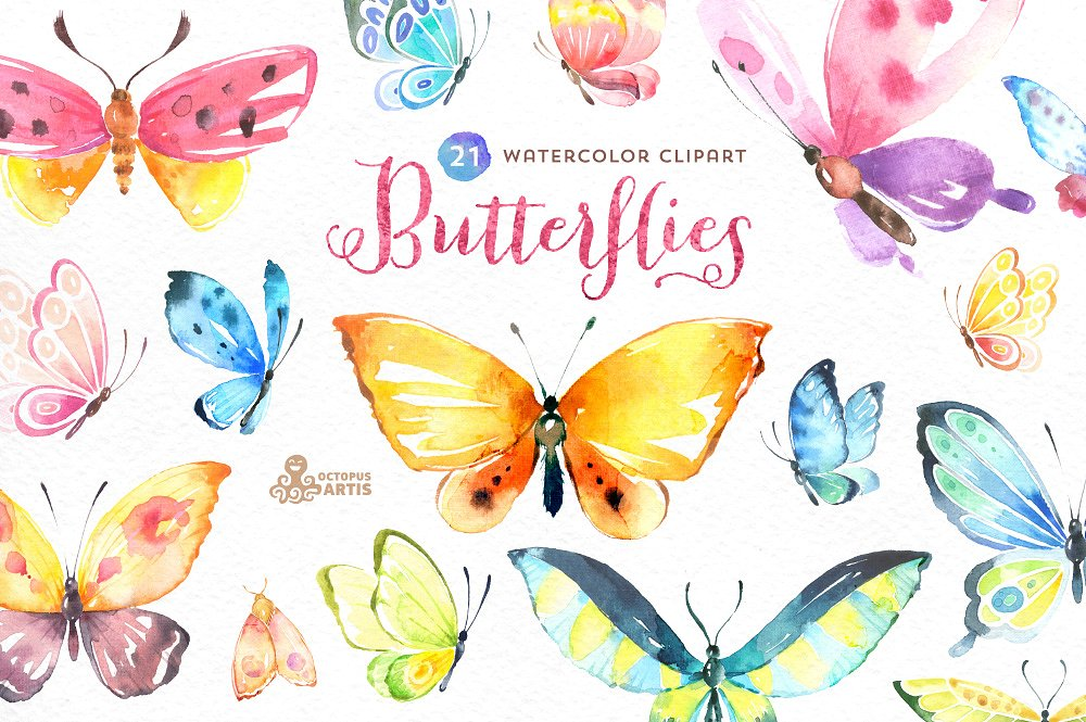 Butterflies set illustrations creative. Butterfly clipart watercolor