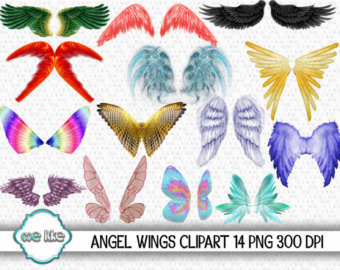 Wing etsy wings clip. Butterfly clipart angel