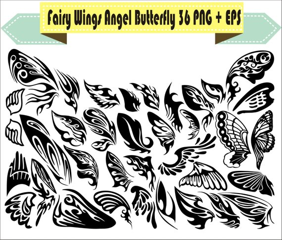 Fairy wings silhouette vector. Butterfly clipart angel