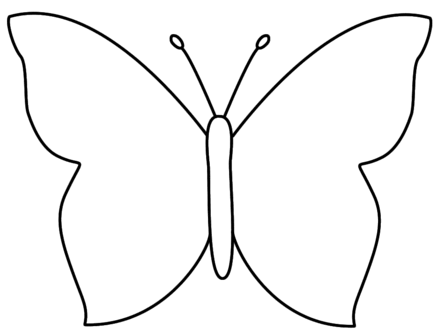 Butterfly clipart black and white. Outline pencil in color
