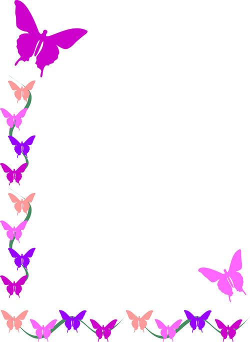 Clip art borders and. Butterfly clipart boarder