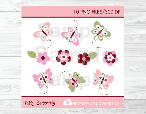 Cute pink baby shower. Butterfly clipart burgundy