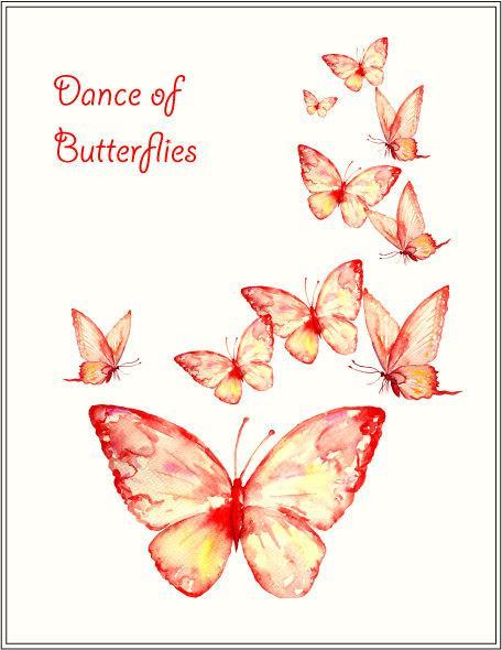 Butterfly clipart corner. Watercolor butterflies orange red