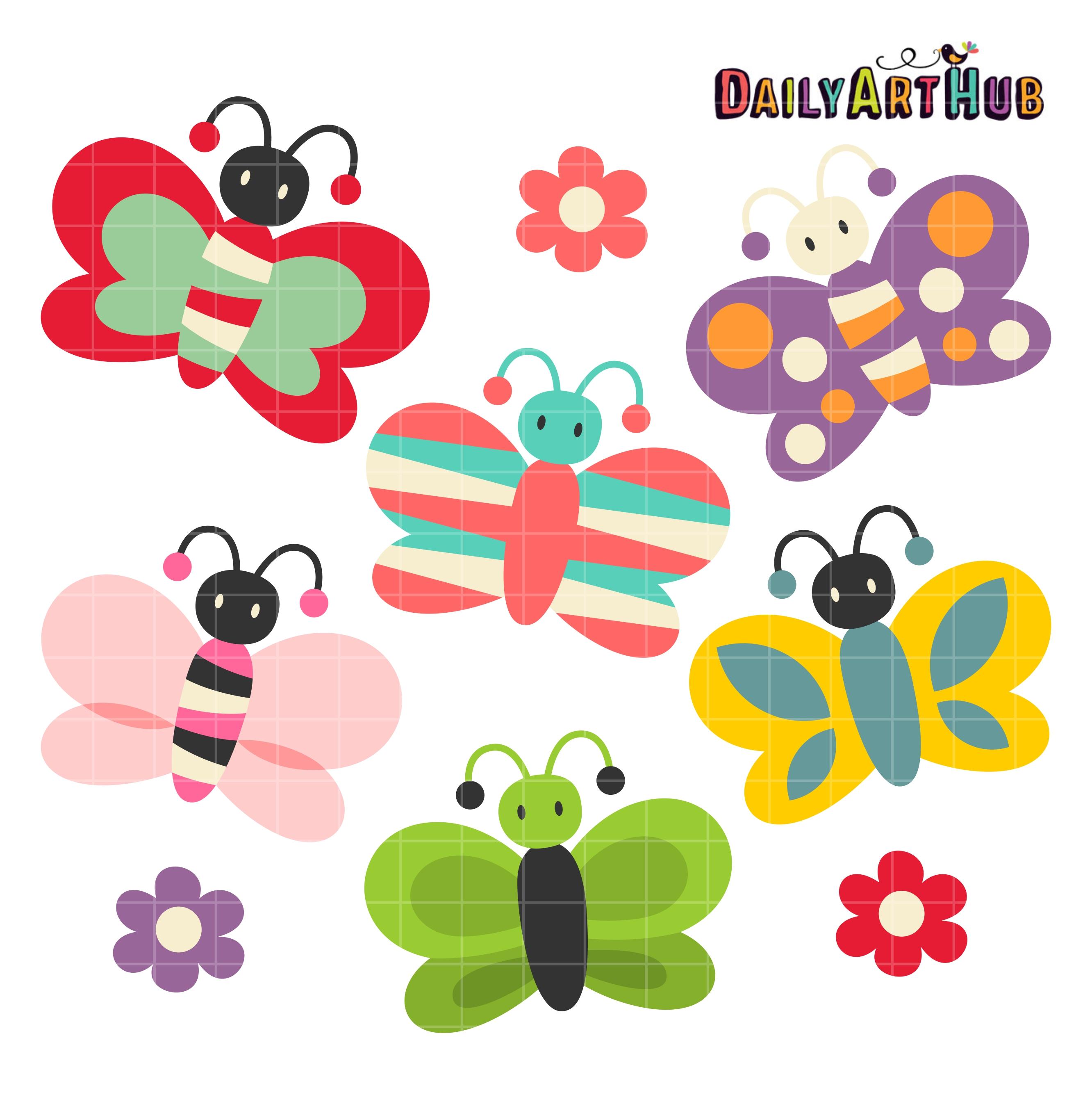 Butterfly clipart cute. Butterflies clip art set