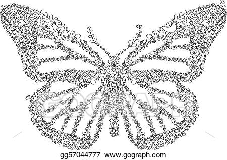 Butterfly clipart doodle. Vector art drawing gg