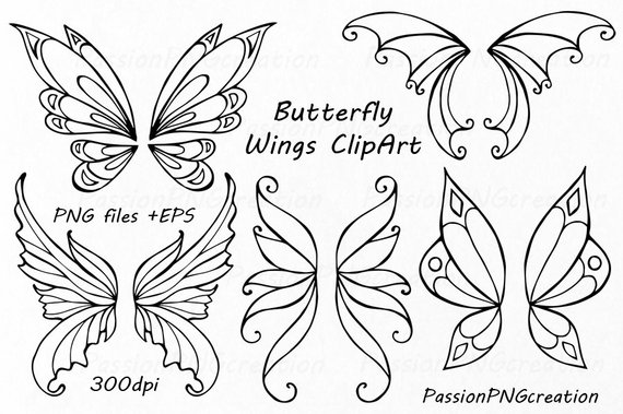 Butterfly clipart doodle. Wings clip art hand