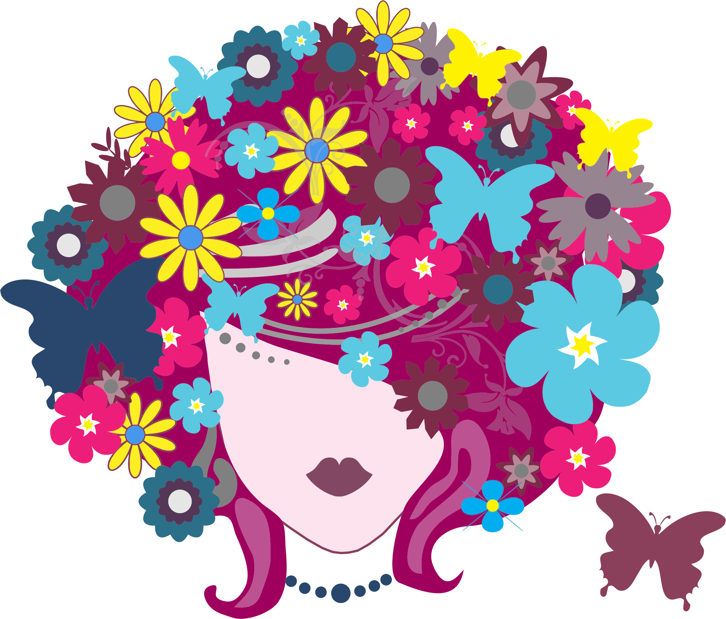 Floral butterfly hair big. Clipart woman flower