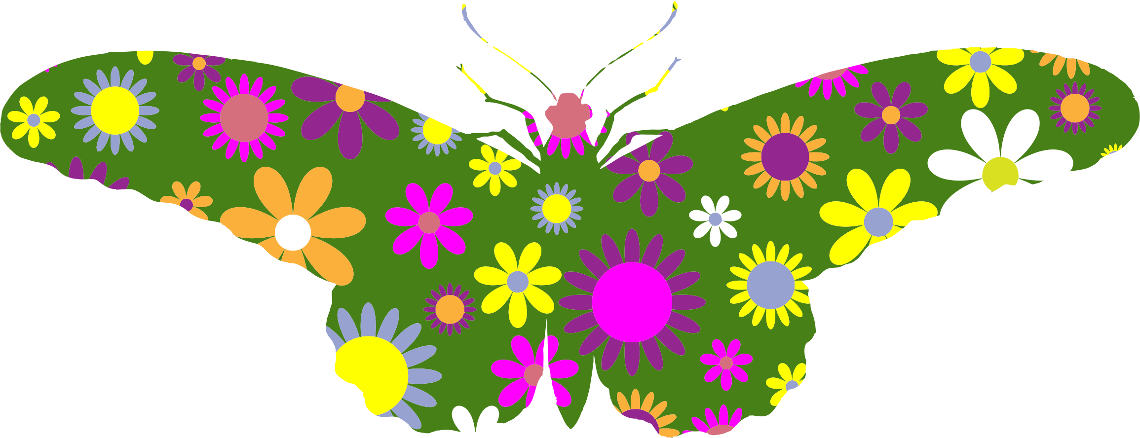 Retro clipart vintage. Floral butterfly illustration icons
