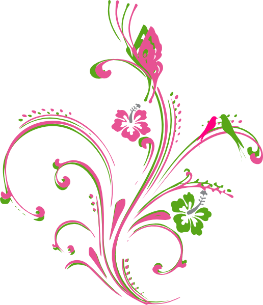 Scroll clipart pretty. Pink green butterfly clip
