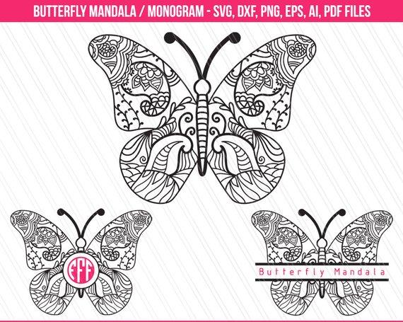 Svg monogram . Butterfly clipart mandala