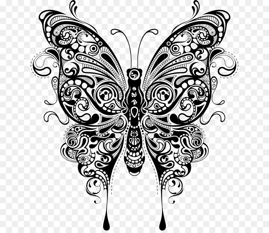 Clipart butterfly mandala. Black and white transparent