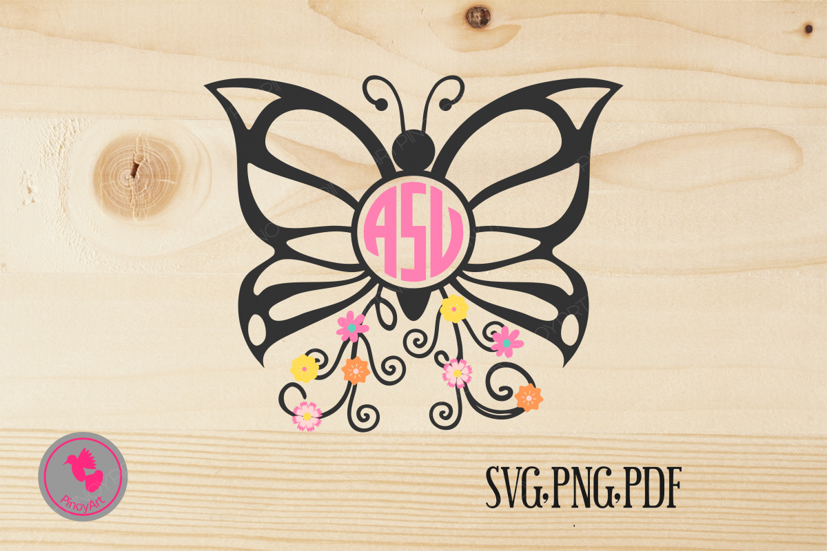 Butterfly clipart monogram. Svg bu design bundles