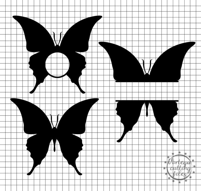 Dxf svg frame butterflies. Butterfly clipart monogram