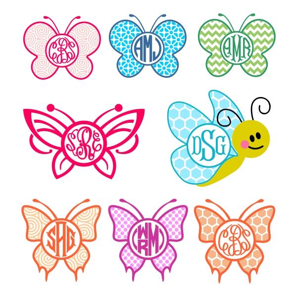 Butterfly svg cuttable frames. Butterflies clipart monogram