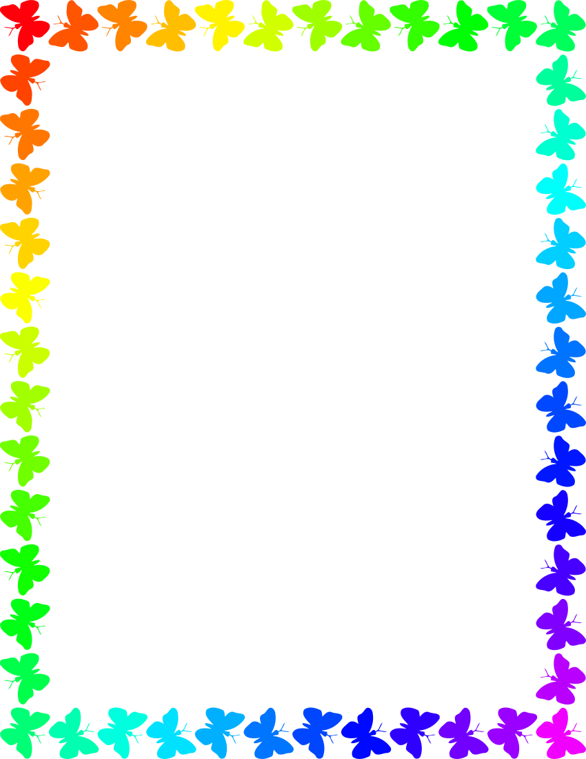 Butterfly clipart picture frame. Rainbow page frames animal