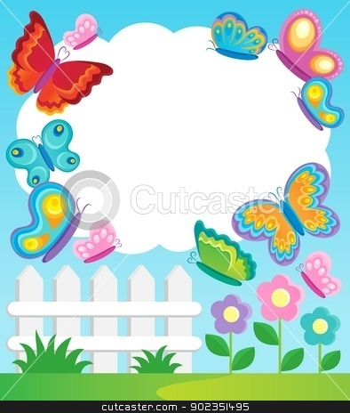 Butterfly clipart picture frame. Theme stock vector