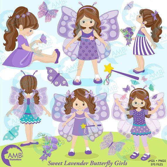Butterfly clipart princess. Fairy girls purple amb