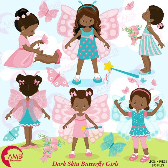 Fairy girls african american. Butterfly clipart princess