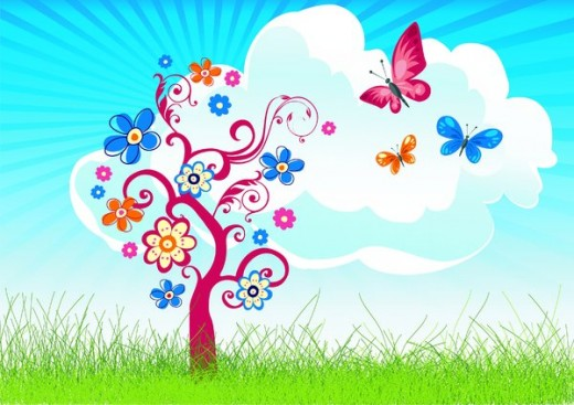 Spring clip art best. Butterfly clipart scene