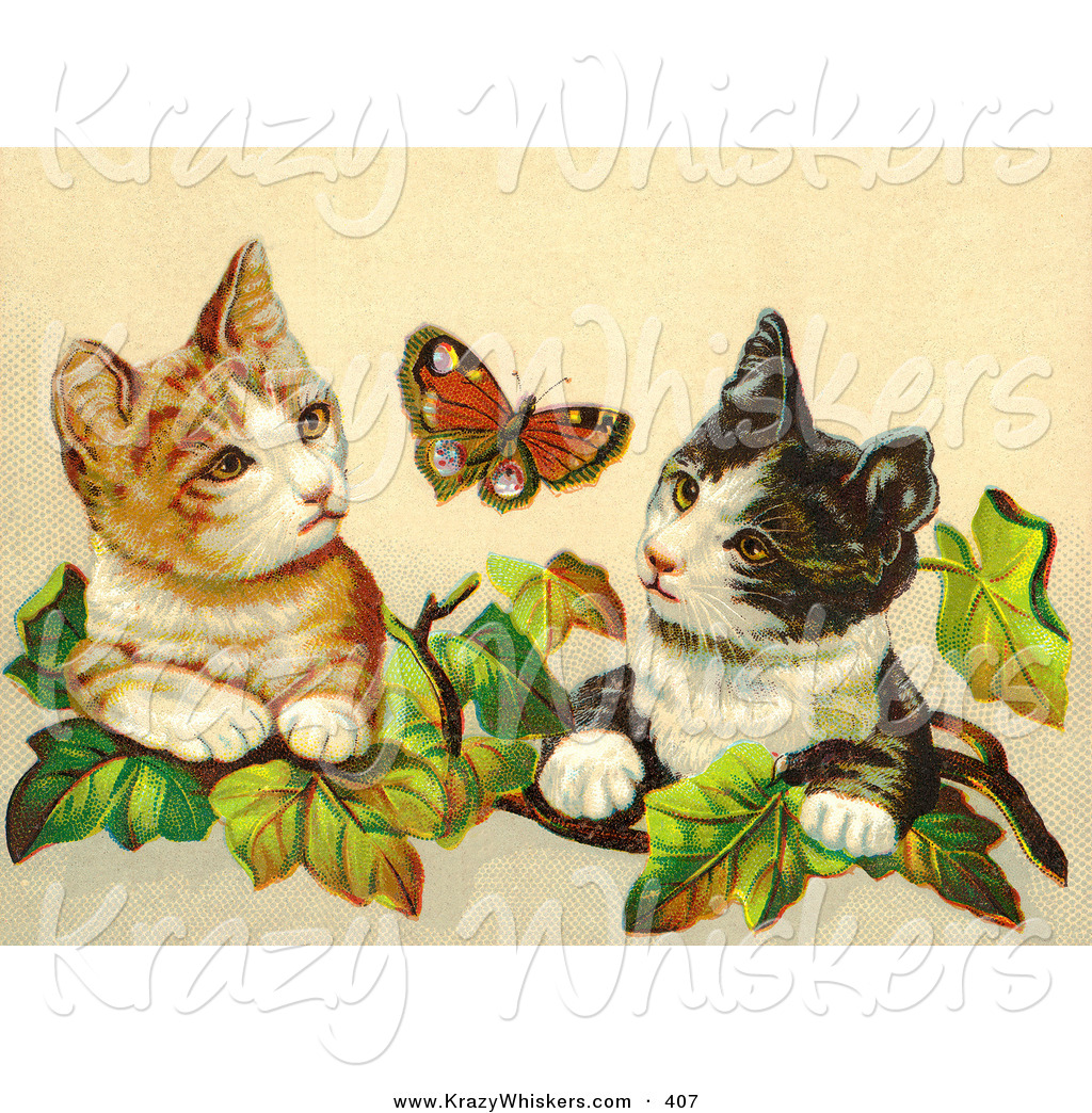 Critter of a painting. Butterfly clipart scene