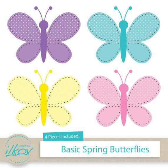 Butterfly clipart scrapbook. Basic spring butterflies for