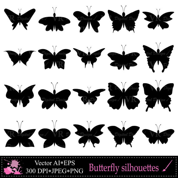 Butterfly clipart silhouette. Clip art black silhouettes