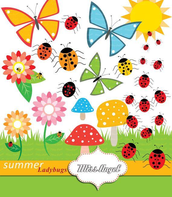 Ladybugs flowers mushrooms bugs. Butterflies clipart summer flower