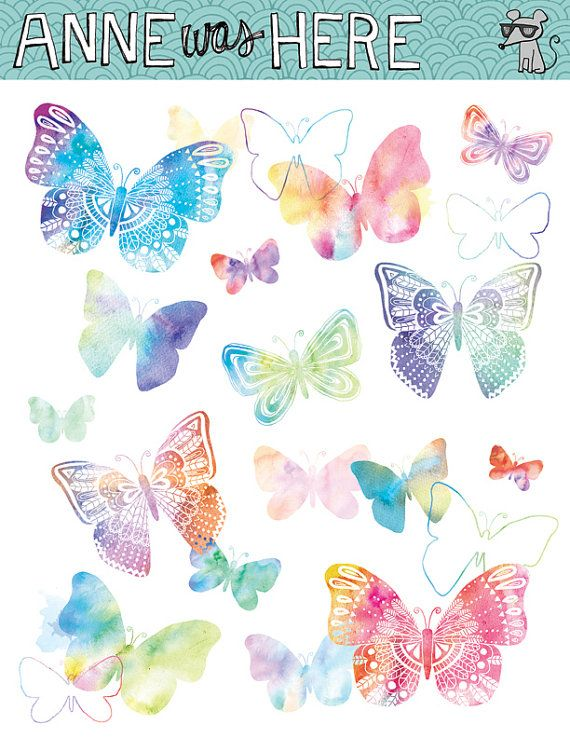 Butterflies clip art digital. Butterfly clipart watercolor