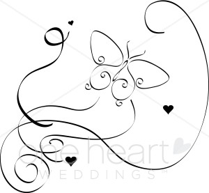 Elegant bird and. Butterfly clipart wedding