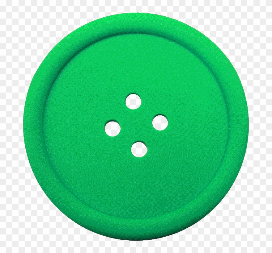 Greeen sewing with hole. Button clipart clothes button