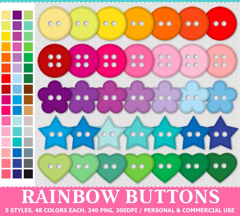 digital rainbow buttons. Button clipart colored button
