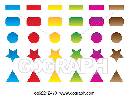 Stock illustrations set gg. Button clipart colored button