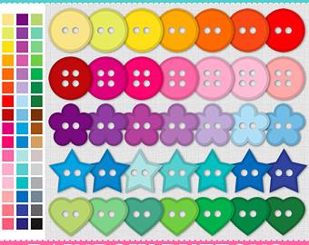 Button clipart colored button. Etsy studio digital rainbow
