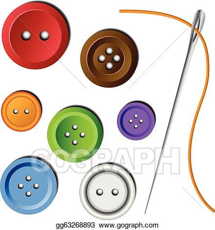 Vector art clothes set. Button clipart colored button