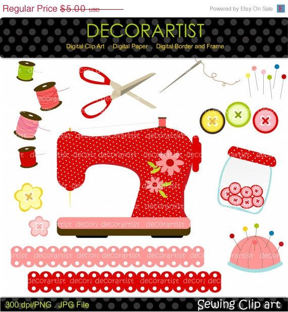 Sewing machine instant on. Button clipart craft