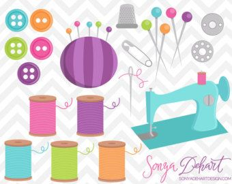 Button clipart craft. Sewing machine digital for