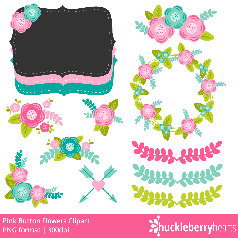 Pink flowers huck hearts. Button clipart craft