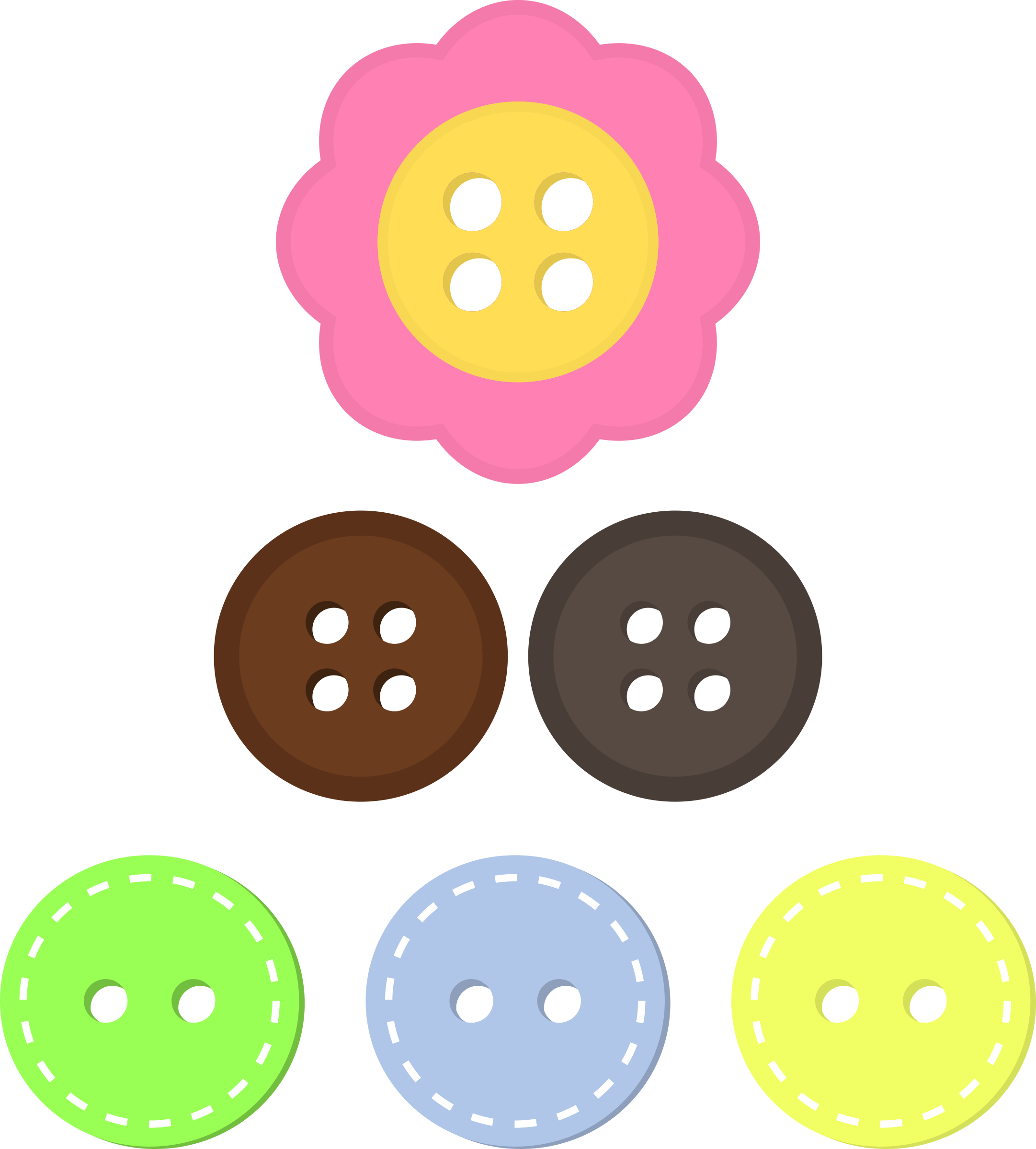 Assorted buttons big image. Button clipart craft