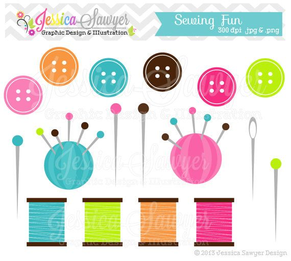 Buttons clipart craft. Instant download cute sewing