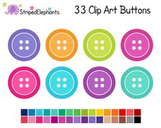 Instant download sewing clip. Buttons clipart cute button